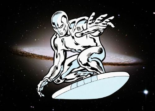 SILVER SURFER - RETRO LANDSCAPE canvas print - self adhesive poster - photo print